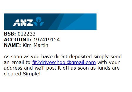 Direct deposit Details
